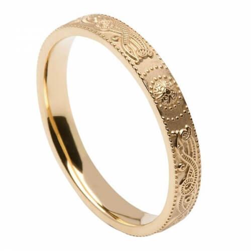 Schmaler irischer Krieger ring - Gold