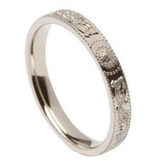 Schmale Keltische Krieger Ring - Silber