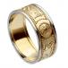 Herren Krieger Ring mit Rand - Gelbes Band mit weißem Rand
