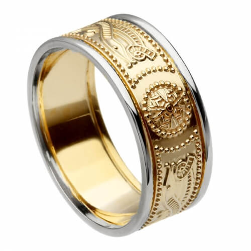 Men's Warrior Ring with Trim - Yellow Band with White Trim
