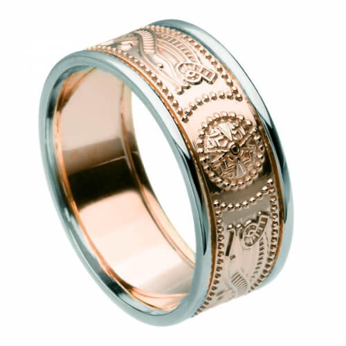 Men's Rose Gold Ring with Trim