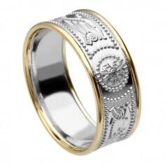Herren Silber Krieger Ring mit Rand