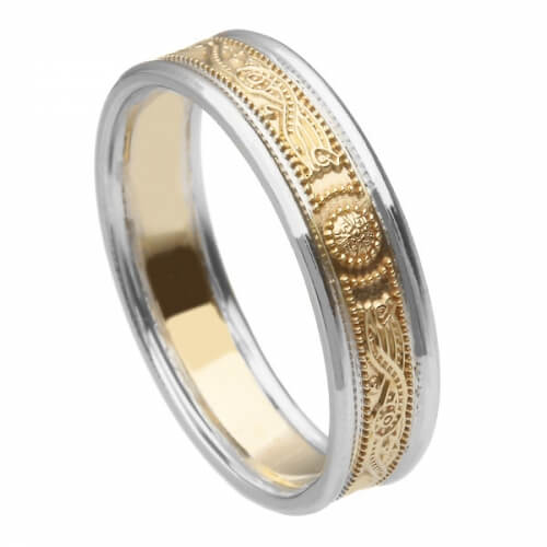 Schmaler Krieger Ring mit Rand - Gelbes Band mit weißem Rand