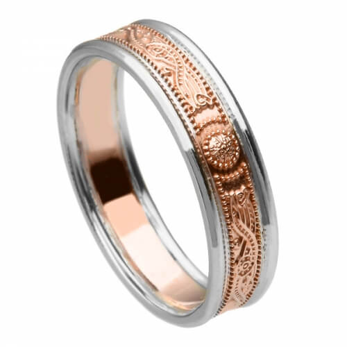 Narrow Rose Gold Ring with Trim