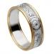 Damen Krieger Ring mit Rand - Weißes Band mit gelbem Rand