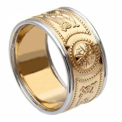 Breiter Krieger Ring mit Besatz - Gelb mit weißem Rand