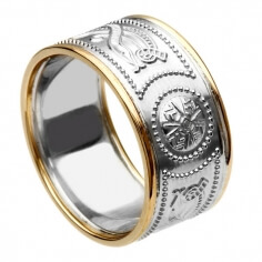 Wide Silver Warrior Ring with Trim