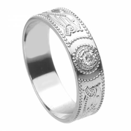 Herren Weißgold Krieger Diamant Ring