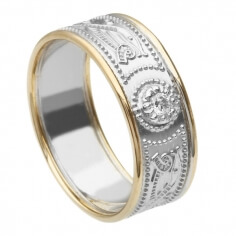 Men's White Gold Diamond Ring with Trim