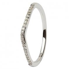 14K White Gold Pave Set Diamond Wedding Ring