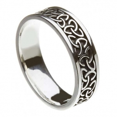 Unisex Solid Trinity Knot Wedding Ring - Oxidised Silver