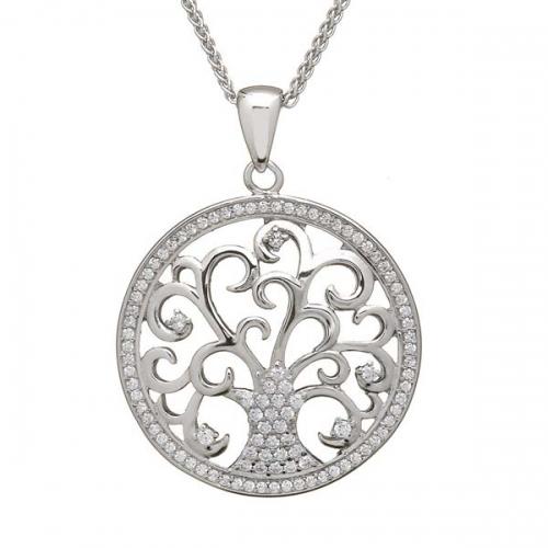 Tree of Life Silver CZ Pendant