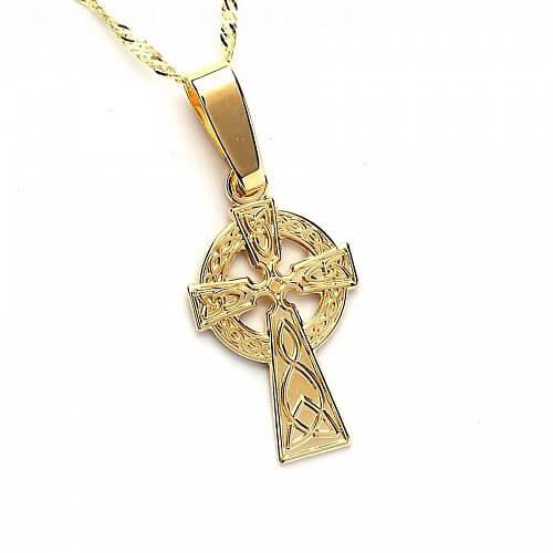 Kleines goldenes keltisches Kreuz - gelbes Gold