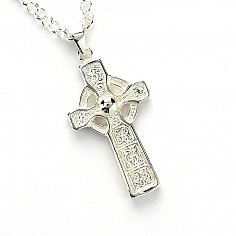 High Cross on Bell Chain - Silver