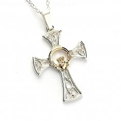 Silver & Gold Claddagh Cross - Silver & 14k Gold