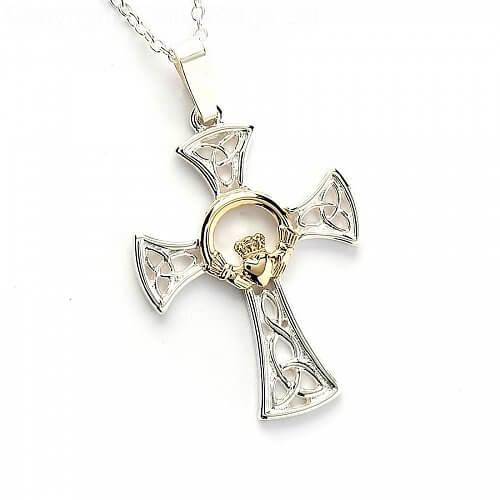 Silber & Gold Claddagh Kreuz - Silber & 14 Karat Gold