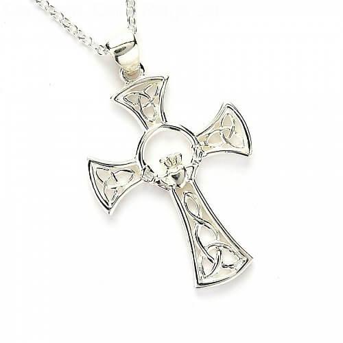 Celtic Claddagh Cross - Silver