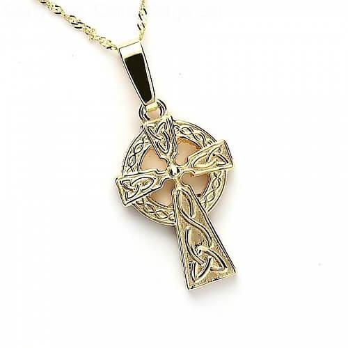 Doppelseitiges keltisches Kreuz - gelbes Gold