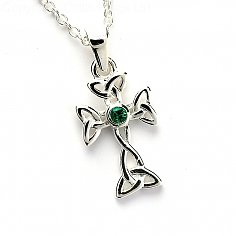 Emerald Celtic Cross - Silver