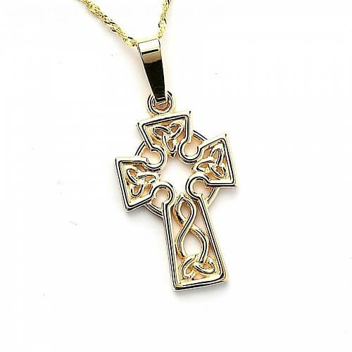 Keltisches Knoten-Draht-Kreuz - gelbes Gold