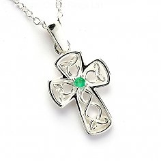 Celtic Emerald Wire Cross