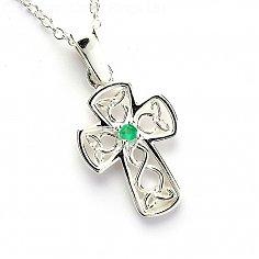 Celtic Smaragd Draht Kreuz