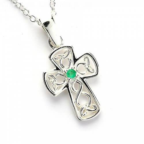 Celtic Emerald Wire Cross