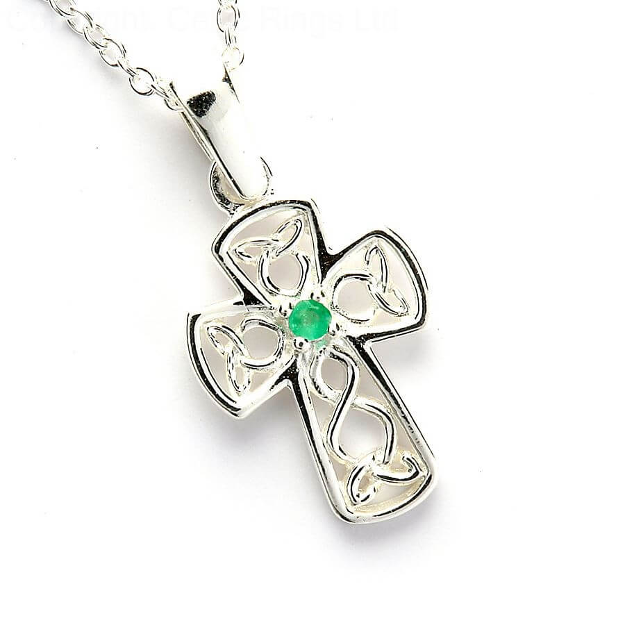 Wire Style Celtic Cross with Emerald
