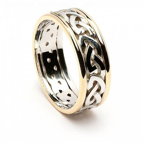 Men's Celtic Knot Ring with Trim - White with Yellow Gold Trim