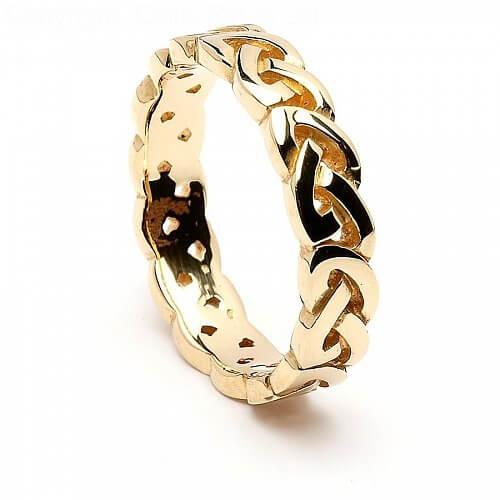 14K Gold Unisex Celtic Knot Wedding Ring 52 mm Wide