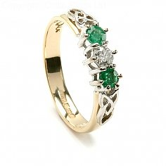 Arianrhod Trinity Emerald Engagement Ring