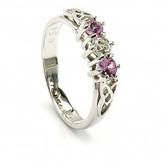 Rosa Saphir Drei-Stein-Ring - Weißes Gold