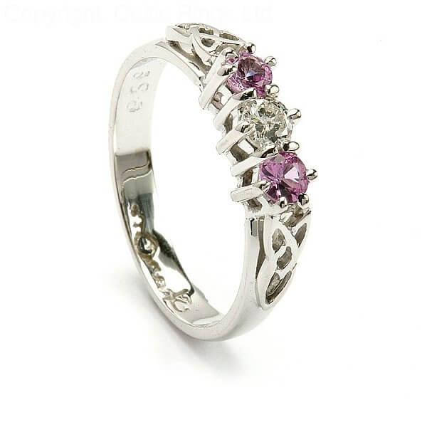 Pink Sapphire 3 Stone Engagement Ring Celtic Rings Ltd