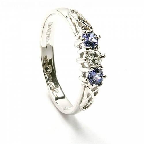 Tanzanite Three Stone Engagement Ring - White Gold