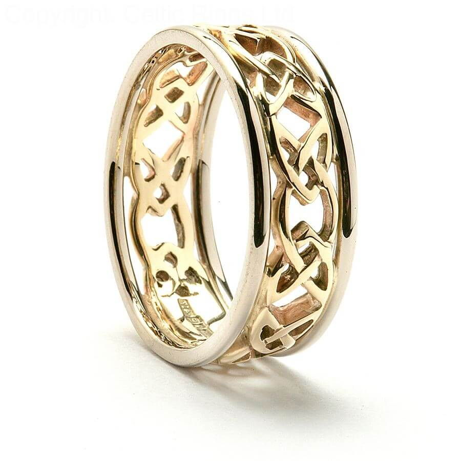 Celtic heart wedding ring 14k yellow gold 7mm wide junglespirit Choice Image