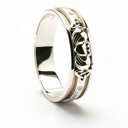 claddagh trinity knot wedding ring 14k white gold. Black Bedroom Furniture Sets. Home Design Ideas