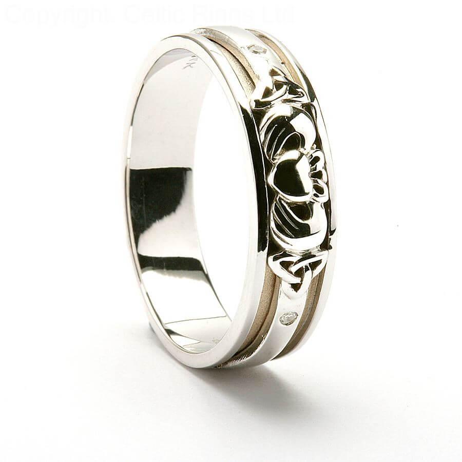 claddagh trinity knot wedding ring - 14k white gold