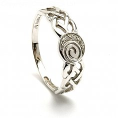 Ladies Celtic Diamond Spiral Ring