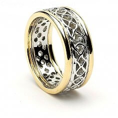 Women's Pierced Celtic Knot Ring with Trim - White with Yellow Gold Trim