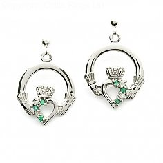Emerald Claddagh Diamond Earrings