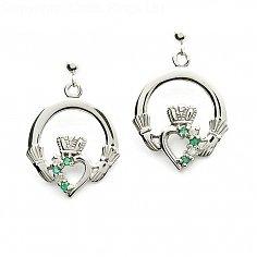 Smaragd Claddagh Diamant-Ohrringe