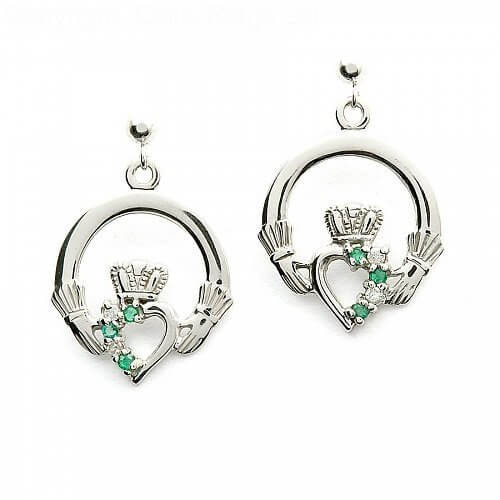 Smaragd Claddagh Diamant-Ohrringe
