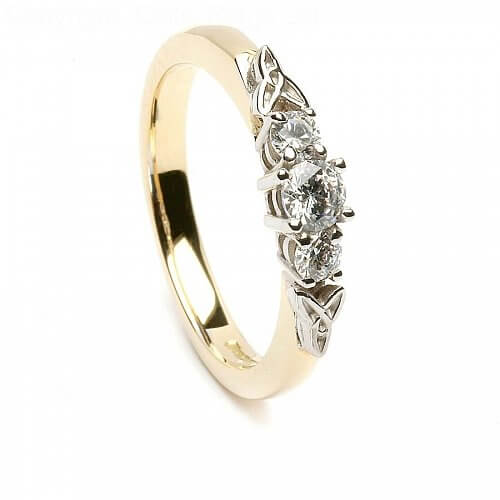 3 Stone Trinity Knot Engagement Ring - Yellow Gold