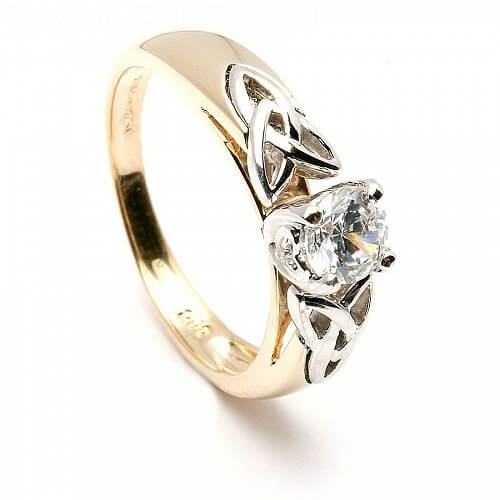 Trinity Knot Inset Engagement Ring - Yellow Gold