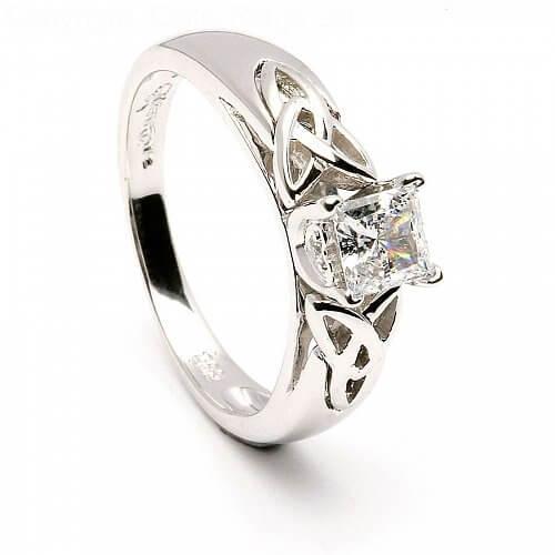 Princess Trinity Inset Ring - White Gold