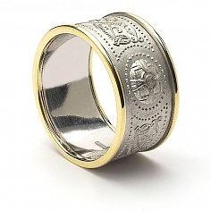 Guerrier celtique Anneau 10mm en or blanc avec garniture