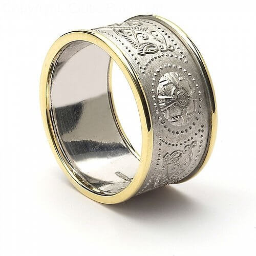Celtic Warrior Ring 10mm White Gold with Trim