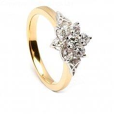 Bague de fiançailles en diamant cluster celtique