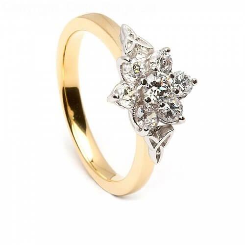 Keltischer Diamant cluster-Verlobungsring - Gelbes Gold