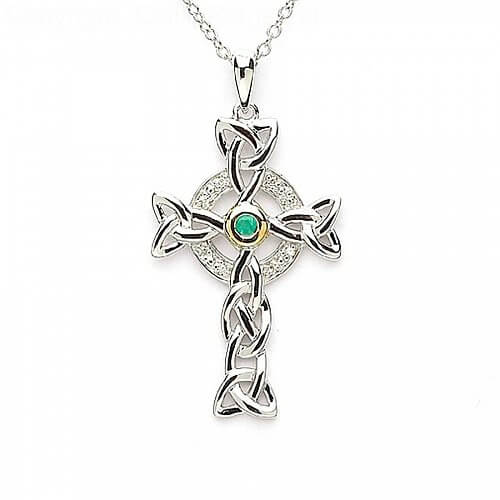 Silberkeltisches Kreuz mit Smaragd